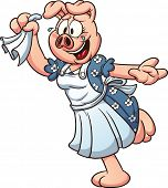 Cartoon female pig waving goodbye. Vector