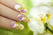Nail with a pattern of colored orchids.