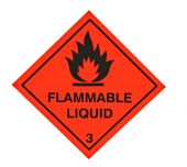 stock photo of warning-signs  - A red diamond shaped sign warning of flammable liquid - JPG