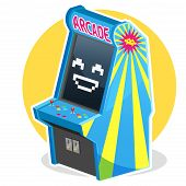 picture of arcade  - Smiling Face Blue Vintage Arcade Machine Game Illustration, Waiting some Coin to Play It