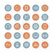 Multimedia And Technology Flat Icons Set
