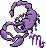 picture of scorpio  - Cartoon Illustration of Scorpio or The Scorpion Horoscope Zodiac Sign - JPG