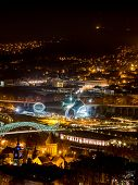 picture of trinity  - Tbilisi seen from Fort Narikala with the The Holy Trinity Cathedral by night - JPG