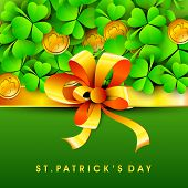 Happy St. Patrick's Day celebration poster, banner or flyer decorated with clover leaves, gold coins and ribbon.