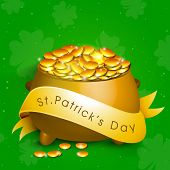 Happy St. Patrick's Day celebration poster, banner or flyer with golden pot full of golden coins on green background.