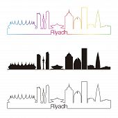 picture of riyadh  - Riyadh skyline linear style with rainbow in editable vector file - JPG