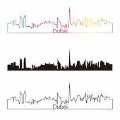 Dubai Skyline Linear Style With Rainbow