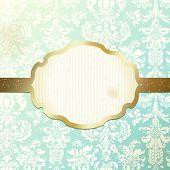 Elegant frame banner with ornate wallpaper background
