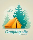 Camping with tent in forest. Eps10 vector illustration