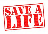 foto of cpr  - SAVE A LIFE red Rubber Stamp over a white background - JPG