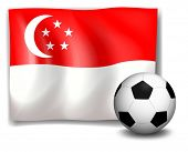 Illustration of a soccer ball in front of the flag of Singapore on a white background