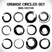 Set of vector grunge circles.