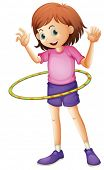 picture of hulahoop  - Illustration of a young girl playing hulahoop on a white background - JPG