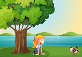 Illustration of a young girl and her pet near the tree