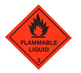 pic of warning-signs  - A red diamond shaped sign warning of flammable liquid - JPG