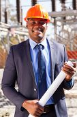 image of substation  - handsome african power company manager standing in electrical substation - JPG