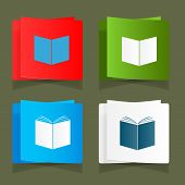 Set icon of an open book vector