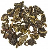 Tea Guan Yin Oolong ,slightly fermented, Surface Top view close up , isolated on white background