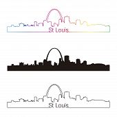 St Louis Skyline Linear Style With Rainbow