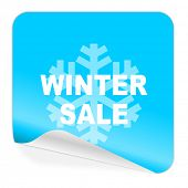 winter sale blue sticker icon