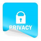 privacy blue sticker icon