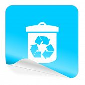recycle blue sticker icon
