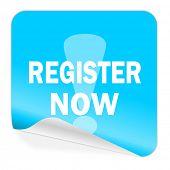 register now blue sticker icon