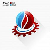 Vector symbol fire. Red and blue Round glass icon with shadow isolated