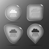 Rain. Glass buttons. Raster illustration.