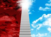 White stair with red and blue sky
