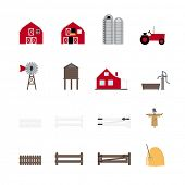 Farm Vector Icon Collection. Set of 16 farming and agriculture icons.