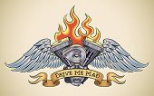 Old-school styled tattoo of a flaming motorcycle engine with steel wings. Editable vector illustrati