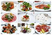 Italian Cuisine. Collage of Various Photo of Delicious Italian Dishes. Snacks.