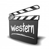 detailed illustration of a clapper board with Western term, symbol for film and video genre, eps10 vector