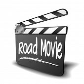 detailed illustration of a clapper board with Road movie term, symbol for film and video genre, eps1