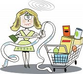 Woman shopping cartoon