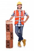 Builder with clay bricks isolated on white