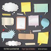 vector illustration set of textured paper speech bubbles