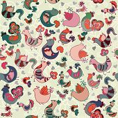 Cute Seamless Pattern With Birds And Hearts