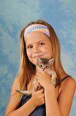Pretty Girl With Little Kitten