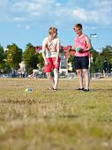 Two Women And Petanque Game