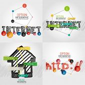 Hand drawn internet concepts and stickers with options. Unusual abstract infographic collection - in