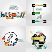 Hand drawn internet concepts and stickers with options. Unusual abstract infographic collection - ht