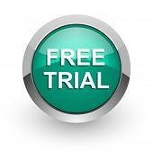 free trial green glossy web icon