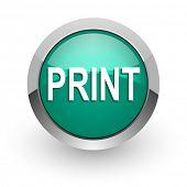 print green glossy web icon