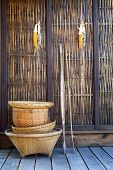 Thai Bamboo Basket Hand Craft With Wood Wall  Rural Home Scene In Thailand
