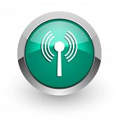 wifi green glossy web icon