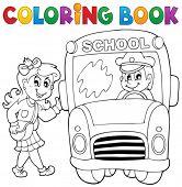 Coloring book school bus theme 3 - eps10 vector illustration.