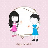Illustration of two small girls celebrating Dussehra festival by playing with crackers on a dotted p