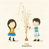 stock photo of dussehra  - Illustration of young girs wearing yellow and blue clothes and celebrating Dussehra festival by playing with colourful crackers - JPG